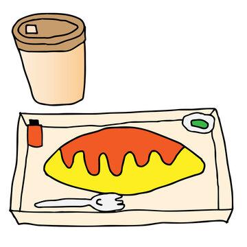 オムライス弁当のイラスト(セットコーヒー付き)