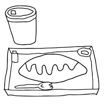 オムライス弁当の線画イラスト(セットコーヒー付き)