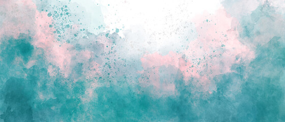 blue green pink sky gradient watercolor background with clouds texture