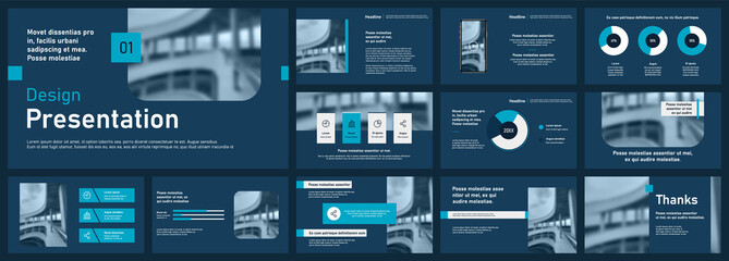Fototapeta Set of vector slides for presentations and reports. Geometric elements with infographics in minimal design on a white background. Can be used for brochures, flyers, booklets, banners, web interfaces. obraz