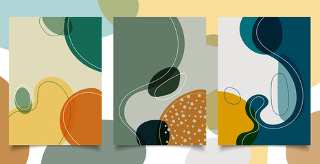 Set of abstract hand drawn creative design backgrounds organic shapes with lines in minimal trendy style