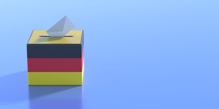 Germany election 2021, Envelope on ballot box slot, vote to elect the members of the Bundestag. German national flag voting container on blue color background. 3d illustration