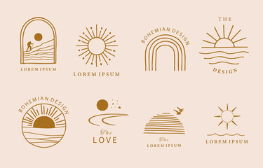 Obraz Collection of line design with sun,sea,wave.Editable vector illustration for website, sticker, tattoo,icon - fototapety do salonu