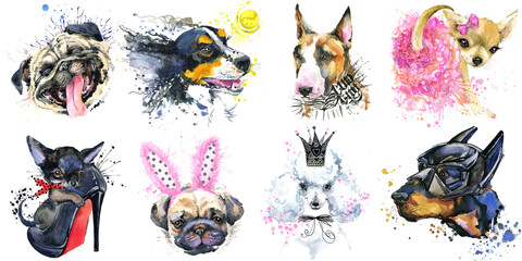 Dogs Collection. watercolor illustration of a different dog breeds Isolated on white.