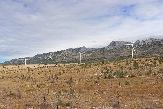 Wind turbines, wind farm, windy area of Croatia