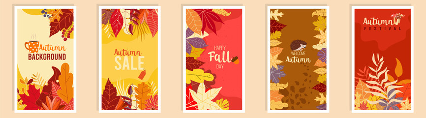 Obraz Collection of autumn sale and other typography flyer template with lettering. Bright fall leaves. Poster, card, label, banner design set. Vector illustration EPS10 - fototapety do salonu