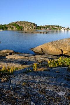 Norwegian coastline and rocks near Havna, Tonsberg, Norway