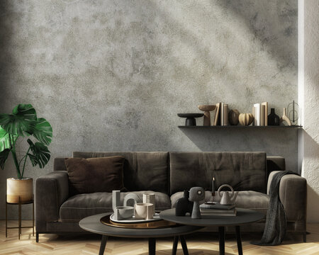Modern home interior mock-up with dark sofa, table, and decoration in the living room, 3d render
