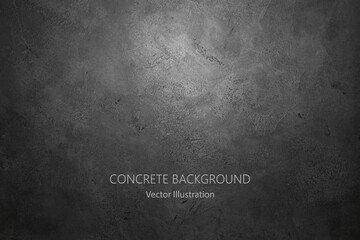 Black stone wall background. Vector concrete texture.
