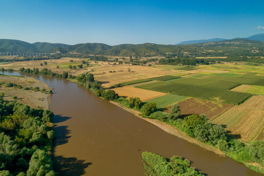 Aerial View of the river Axios