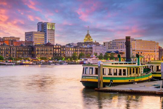 Historic District waterfront of Savannah, Georgia USA