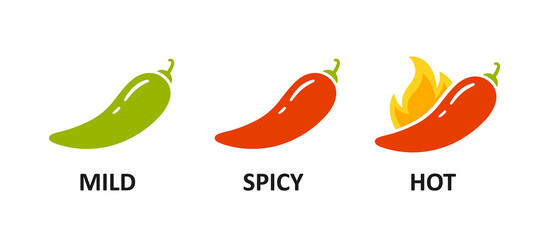 Fototapeta Spice level marks - mild, spicy and hot. Green and red chili pepper. Symbol of pepper with fire. Chili level icons set. Vector illustration isolated on white background. obraz