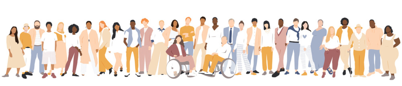 People of different ethnicities stand side by side together. Flat vector illustration.