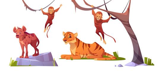 Cartoon wild animals tiger, monleys and hyena set