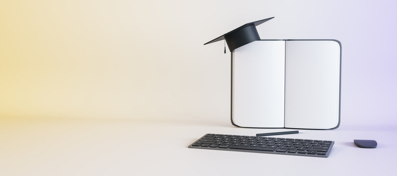Abstract notepad, mortarboard, keyboard and other items on white background with mockup place. Online education and knowledge concept. 3D Rendering.