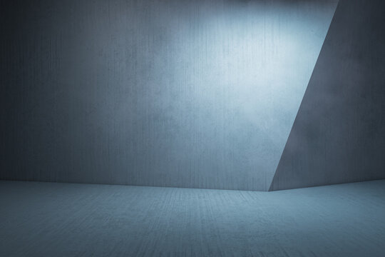 Empty gray concrete interior with mock up place for your advertisement on wall. 3D Rendering.