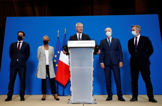 French Finance Minister Le Maire meets business federations over crisis support measures in Paris