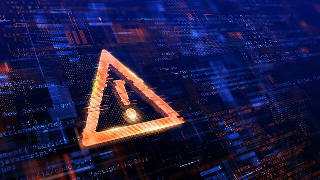Computer Hacked, System Error, Virus, Cyber attack, Malware Concept. Danger Symbol. 3d rendering.