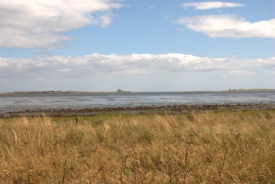 Lindisfarne island from Fenwick le Moor in summer