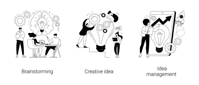 Creative thinking abstract concept vector illustrations.