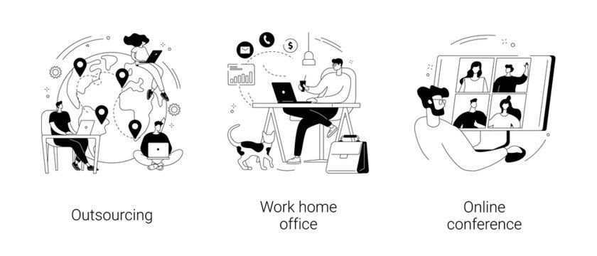 Distance working abstract concept vector illustrations.