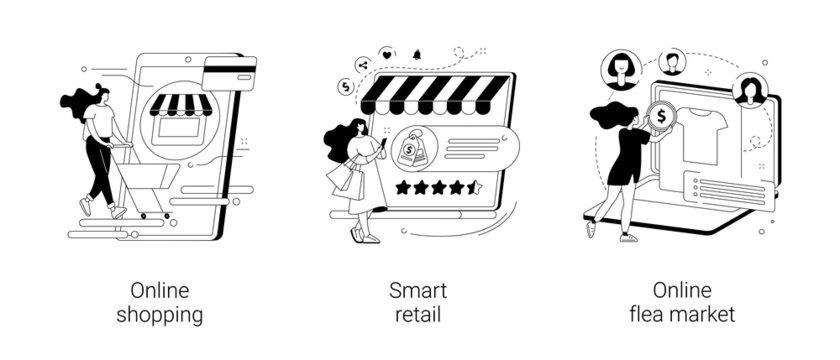 E-commerce platform abstract concept vector illustrations.