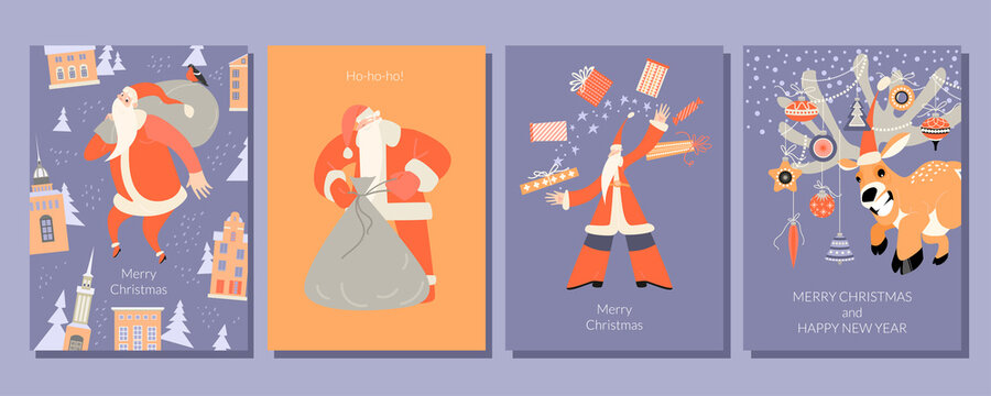 A set of cards for Christmas and New Year with merry Santa with gifts and a funny deer with decorations.
