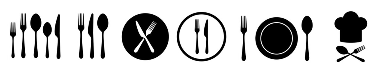 Fork knife and spoon set vector icons