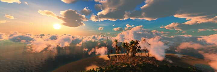 Beautiful beach with palm trees at sunset, panorama of a tropical landscape, sea sunset, 3d rendering