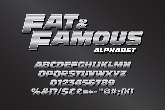 Chrome alphabet for action titles. Vector typography illustration