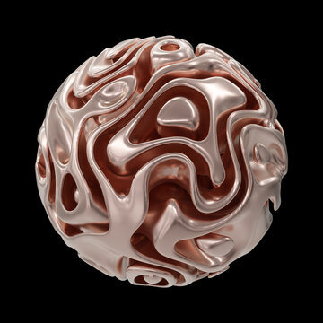 Abstract Copper Sphere Isolated On Black Background