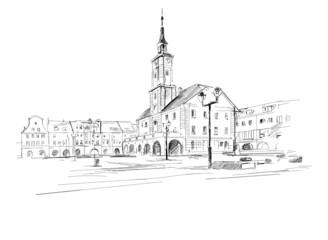 Fototapeta Centrum miasta Gliwice na Śląsku w Polsce. Szkic odręczny wykonany przez artystę na białym tle obraz