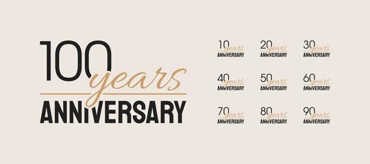 Obraz Set of anniversary icons. Decades logotype celebration. 10, 20, 30, 40, 50, 60, 70, 80, 90, 100. Vector illustration - fototapety do salonu