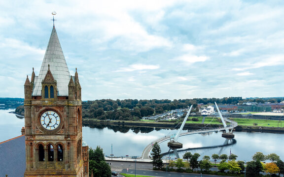 Guild Hall and Peace Bridge Derry / Londonderry Northern Ireland