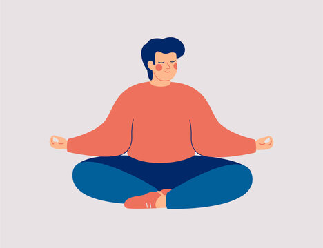 Young man sits with cross-legged on the floor and meditates with closed eyes. Boy makes morning yoga, relaxes at home or breathing exercises. Body positive and health care concept. Vector