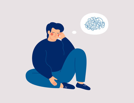 Sad man sits on the floor with tangled thoughts. The unhappy boy has confused thinking. The depressed male adolescent has memory problems. Concept of mental disorder or illness. Vector