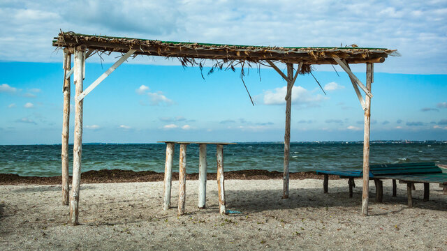 Old wooden shed on the beach