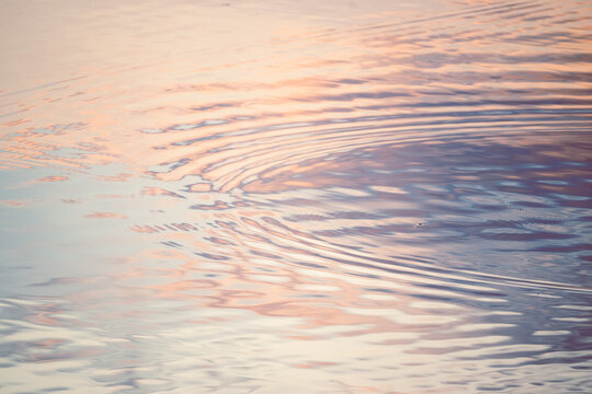 Sunset colors reflected in lake ripples