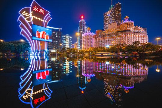February 27, 2017: Casinos in Macau, China. Wynn Macau is a luxury hotel and casino resort operated by international resort developer Wynn Resorts. Casino Lisboa is owned by the STDM built in 1970.