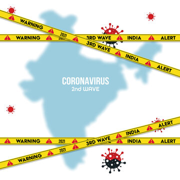 3rd wave of the corona virus concept. covid-19 concept, indian flag. Danger zone. Isolated on transparent backgrounds. Vector illustration.