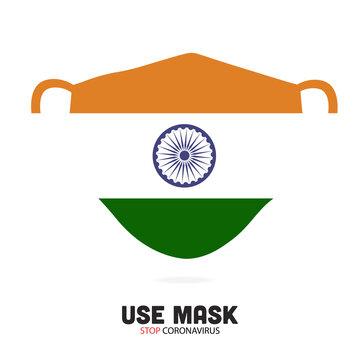 Medical Mask with National Flag of India as Icon on White. Coronavirus (2019-nCoV)