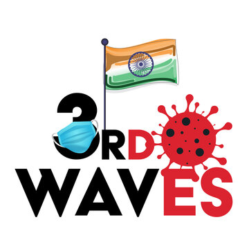 3rd wave of the corona virus concept. covid-19 concept, indian flag