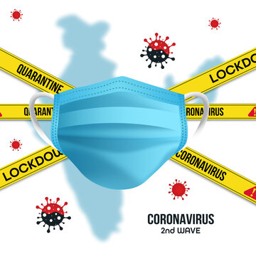 3rd wave of the corona virus concept with corona covid 19 safety mask. Danger zone. Isolated on transparent background. Vector illustration.
