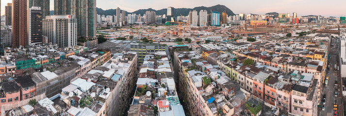 Amazing Colorful messy rooftop on dense residential house in Kowloon, Hong Kong