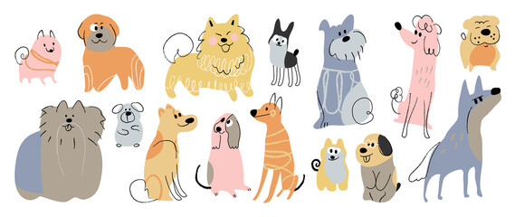 Fototapeta Cute dogs doodle vector set. Cartoon dog or puppy characters design collection with flat color in different poses. Set of funny pet animals isolated on white background. obraz