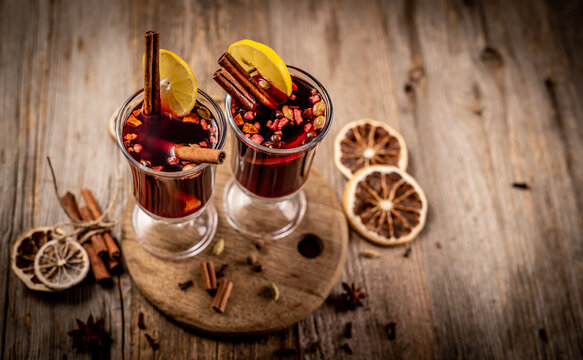 Top view of glasses with mulled wine