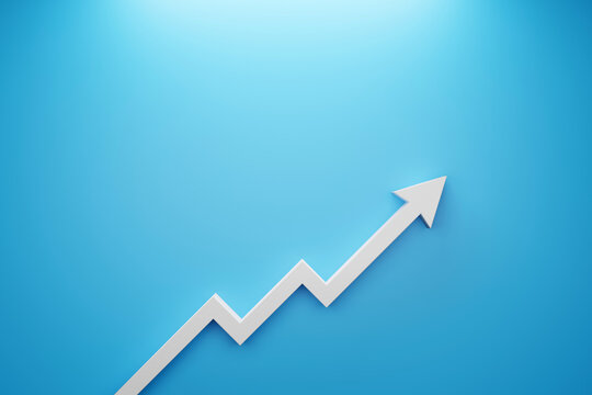 Arrow sign growth on blue background. Business development to success and growing growth concept. 3d illustration