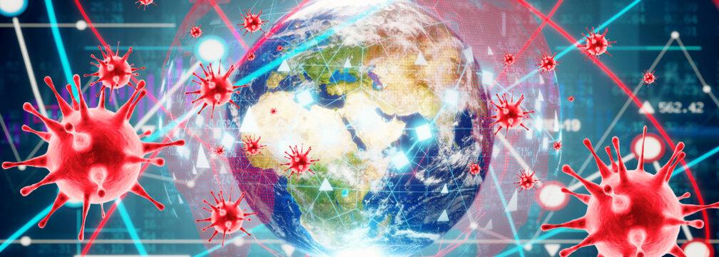 Corona virus crisis around the world. 3d illustration