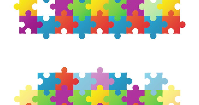 Autism awareness jigsaw forming two rectangles