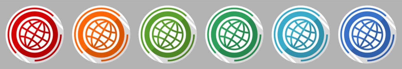 Obraz World, globe icon set, vector illustration in 6 colors options for webdesign and mobile applications, flat design symbol - fototapety do salonu